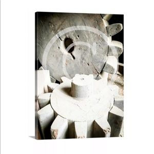 Wall Art Canvas Picture Wood Gears Tools Man Cave